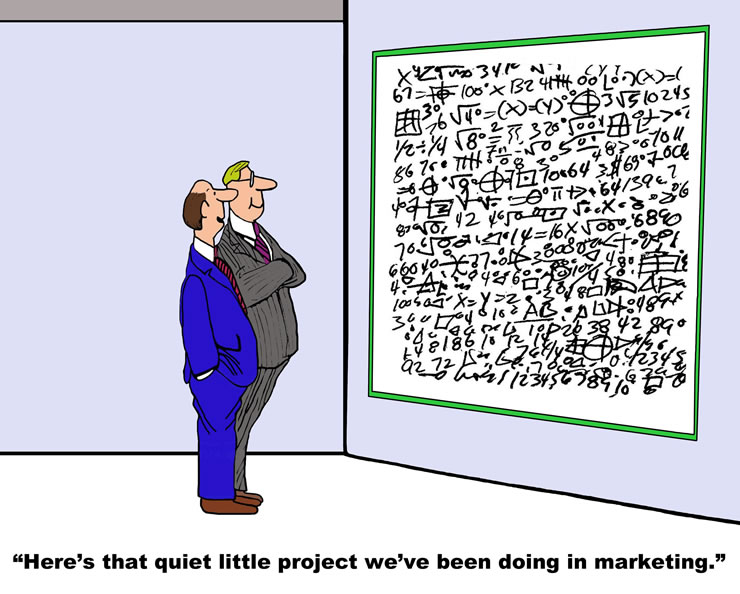 Cartoon of businessmen looking at whteboard covered in math formulas