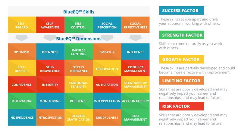 BlueEQ's measurable skills and dimensions of emotional intelligence